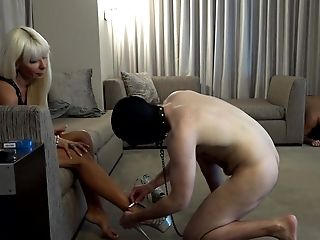 Blonde, Cage, Femdom, Foot Fetish, HD, High Heels, Mistress, Submissive, Teasing,
