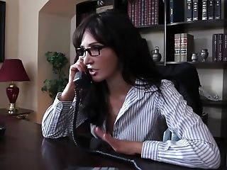 Babe, Big Tits, Blowjob, Brunette, Clothed Sex, Deepthroat, Desk, Diana Prince, Glasses, Hardcore,
