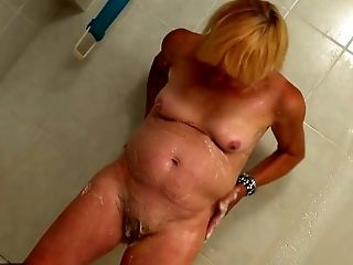 Bathroom, BBW, Blonde, Chubby, Flashing, Granny, Masturbation, Nude,