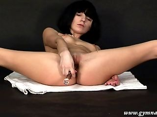 Ass, Brunette, Clamp, Close Up, Flexible, Jerking, Natural Tits, Russian, Sex Toys, Solo,