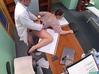 Amateur, Blowjob, Brunette, Clothed Sex, Couple, Desk, Handjob, Hardcore, High Heels, Hospital,