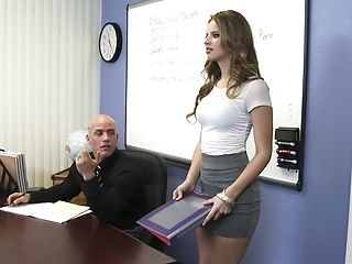 American, Classroom, College, Desk, Legs, Licking, Natural Tits, Skirt, Spreading, Teacher,