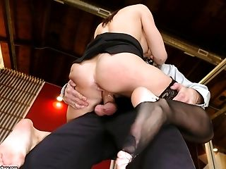 Ass, Brunette, Close Up, Clothed Sex, Couple, Cowgirl, Cum, Cumshot, Cute, Doggystyle,